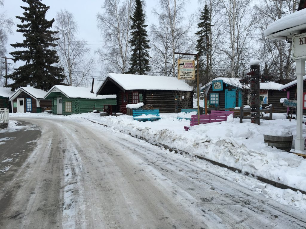 Restored buildings from the gold rush era in Fairbanks (in Pioneer Park)