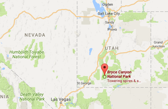 Location of Bryce Canyon National Park