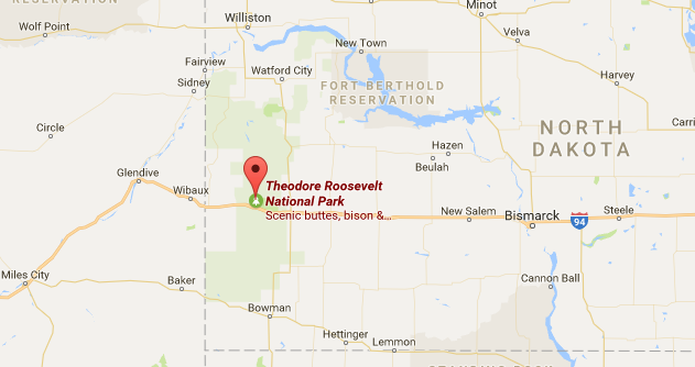 Location of the South Unit of Theodore  Roosevelt National Park