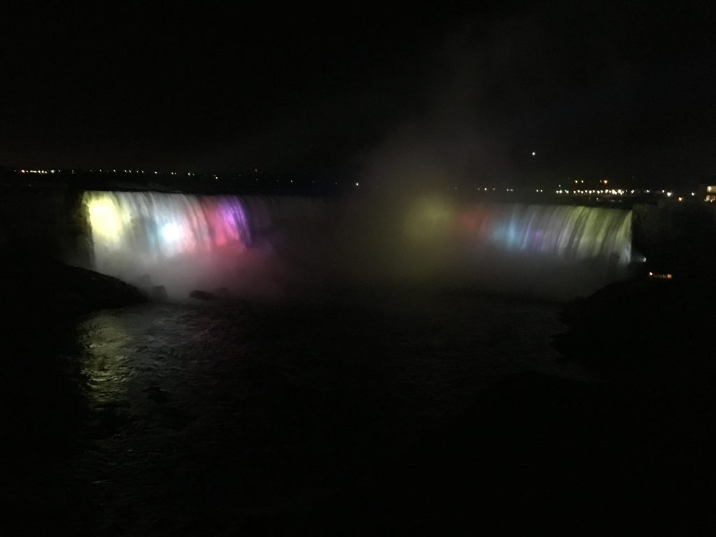 Horseshoe Falls at night (from Niagara Falls, Ontario)