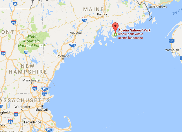 Location of Acadia National Park