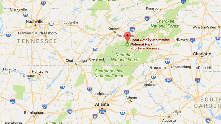 Location of Great Smoky Mountains National Park