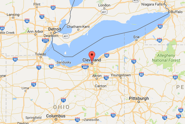 Location of Cleveland and Northeast Ohio