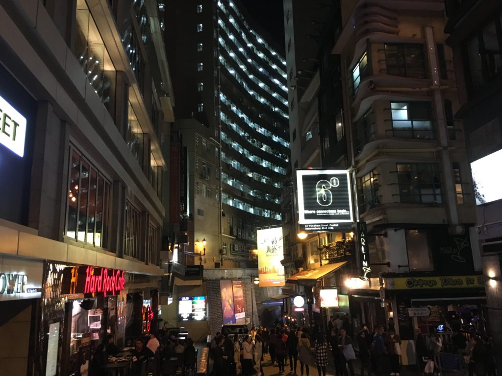 Lan Kwai Fong, home to many bars, restaurants, and nightlife