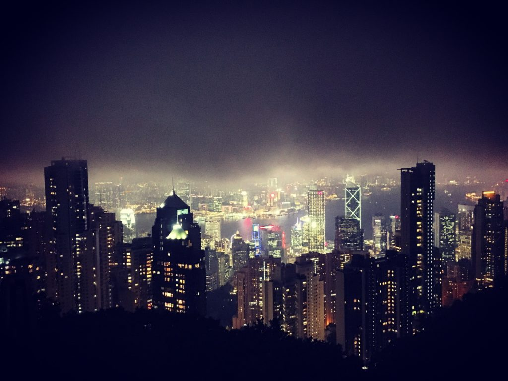 Night time view from the top of the Peak Tram